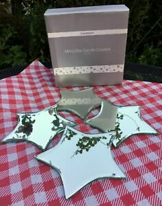 Crate & Barrel Mirror Star Candle Coasters, Trivet, Under Plate Set of 4 in Box