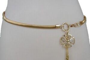 Women Hip High Waist Stretch Gold Metal Narrow Fancy Look Belt Flower Buckle S M