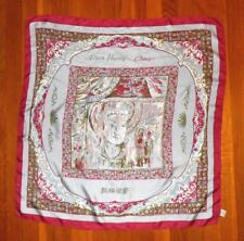 Vintage Don Huang China Silk Chinese Emperor Printed Scarf Rose Red Gray 28x28