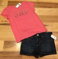 Gap Kids Girls Size 6 Outfit. Pink Sparkle GAP Logo Shirt & Denim Shorts. Nwt