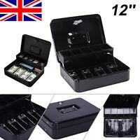 "Hot 12"" Petty Cash Box Money Safe Box Deposit Steel Tin Security Organiser UK"