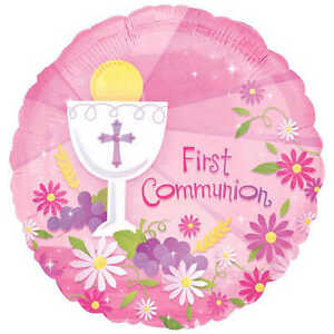 FIRST COMMUNION FOIL BALLOON RELIGIOUS PARTY DECORATION GIRL PINK 1ST FLOWERS