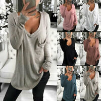 Women's Autumn Tee Long Sleeve Jumper Plain Basic Loose Shirt Blouse Ladies Tops