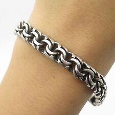 "Rosi Vtg Mexico 925 Sterling Silver Wide Handmade Double Link Bracelet 7"""