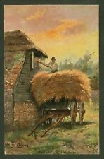 "Harry Payne - ""Filling the Old Barn"" - Tuck's ""Kentish Pastures"" Postcard"