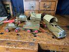 Vintage Pressed Steel Wyandotte Marx Army Truck Trailer Military Set Toy RARE