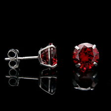 2CT Created Red Garnet Earrings 14K Real White Gold Round Solitaire Basket Studs