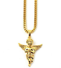 The Gold Gods Micro Angel Piece Necklace 28 Inch Chain 18k Plated