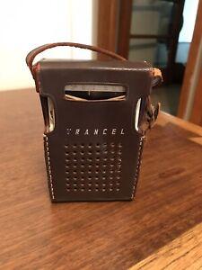 Vintage Trancel 6TP-348 Transistor Radio with Leather Case ~ Works