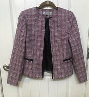 Tahari Arthur Levine Blazer Multi Color Women's Lined Tweed Jacket Petite 2P