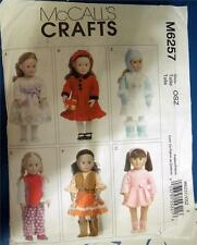 """McCALL'S PATTERN M6257 FOR AMERICAN GIRL OR ANY 18""""DOLL"""