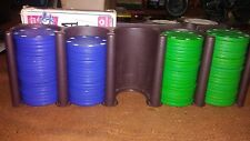pocker set  Blue red green white chips cards included only miss ing 2 red chips