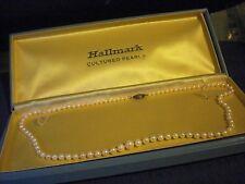 Vintage 18 inch Hallmark Cultured Pearl Necklace In Original Box!