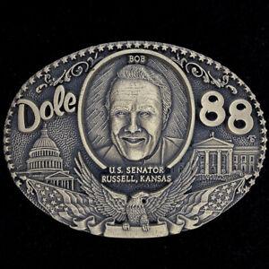 Bob Dole Russell Kansas Senator GOP Republican Brass 1980s NOS Vtg Belt Buckle