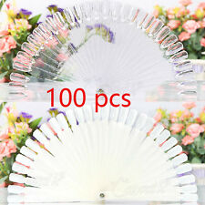 50/100x Nail Art Display Fan Practice Tips Pop Sticks Clear False starter kit