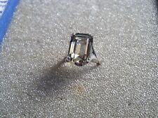 Big 13mm  Smokey Topaz Stone White Gold Plated Womens Fashion Ring Sz 7