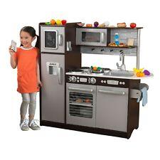 KidKraft Uptown Espresso Play Kitchen with 30 Piece Play Food Accessory Set