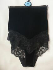 Brand New Ex M&S Velvet High Waisted Brazilian Knicker Black Sizes 8-28
