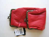 Red Leather Cigarette Case. Snap & Zipper Pouch / Coin Purse. Fits 100s & 120s