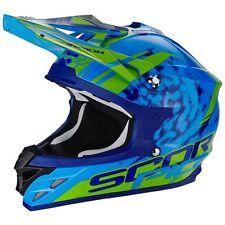 "Scorpion VX-15 Air Motocross tg ""M"" Casco Kistune blu verde Casco Da Motocross"