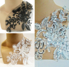 Black or White Silver Applique Trim 3D Lace Sequin, Dance Costume Bridal, #17