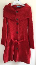 Korean Olive Red Sweater Cardigan Jacket with Convertible Collar Wool Blend S