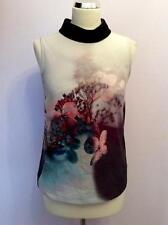 COAST LIGHT GREY FLORAL PRINT SLEEVELESS TOP SIZE 8