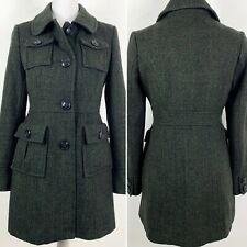 Tulle Small Pea Coat Wool Blend Herringbone Green Black Button Up Womens