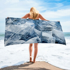 Cool Ice Design Beach Towel Blue and White