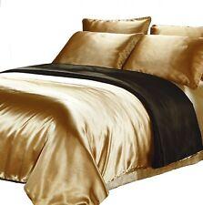 Black/Veuve Gold Satin Reversible Quilt Cover King Size Doona Duvet Silk Feel
