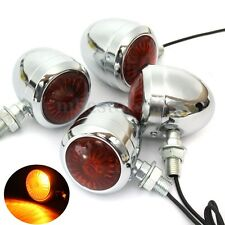 4 x Metal Chrome Motorbike Turn Signal Indicator Light For Harley Chopper Cafe