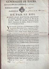 Congé absolu J.Lemonnier Bataillon Garnison de la Reine Subdélég. d'Angers 1785