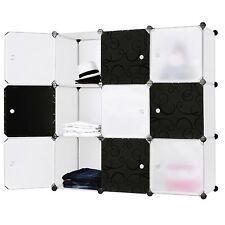 Mobiletto modulare pratico armadio quadrato BIANCO e NERO 9 scomparti LPC33W