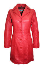 New Ladies Hayley Fashion Casual Style Red Soft Nappa Leather Trench Coat Jacket