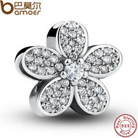 Fine Solid S925 Sterling Silver Crystal Flower Charms Fitting European Bracelets