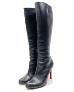 Christian Louboutin • Simple 100mm Black Leather Tall Boots Sz 37.5 EUC!!!