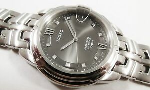 Seiko Silver Tone Stainless Steel 8F32-00F8 Sample Watch NON-WORKING