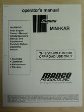 Manco Mini-Kar Go Kart Assembly Operation Maintenance Warranty Manual Cart