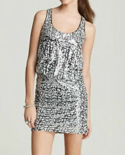 Laundry ~ Silver Black Sequins Blouson Racerback Clubwear Dress 10 New $265