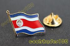Costa Rica National Flag Waving Metal Lapel Pin Badge