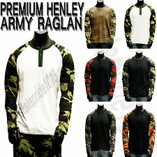 MEN'S NEW PREMIUM HENLEY RAGLAN ARMY MILITARY LONG SLEEVE SHIRTS TEES SIZE M-4XL