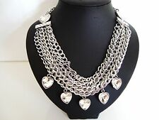 Stunning Chunky Hearts Crystal Stones Silver Multi Chains STaTemenT Necklace