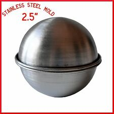 """BATH BOMB MOLD STAINLESS STEEL 2.5"""" BATH FIZZY MOLD, SPHERE, ROUND,BALL MOLD"""