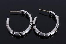 JASS 18K & STERLING SILVER HOOP EARRINGS W/BLACK ENAMEL PAINT VINTAGE   1769