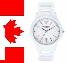 Emporio Armani AR1476 Men's Classic White Dial Ceramic Strap Designer Watch