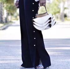 "Ana Jakobs Women's Ladies Fashion Black Pearl Detail Slit Long Pants ""Sz 0"" NEW!"