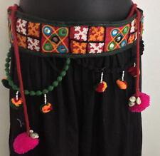 Red Banjara tribal tassel Belly Dance textile waist fringe belt hip scarf India