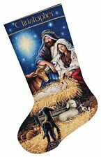 """COUNTED CROSS STITCH Christmas Stocking KIT Holy Night Dimensions 16"""""""
