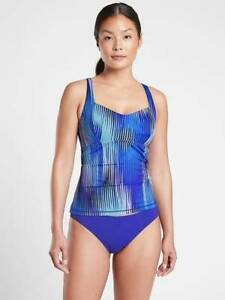 NEW ATHLETA BLUE IBIZA ENTWINED TANKINI SWIM TOP 36 D/DD