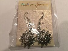 Cute New Sterling Silver Hook w/Tibetan Silver Sun Charm Dangle Drop Earrings